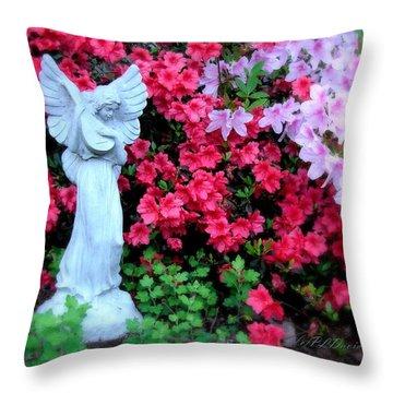 Throw Pillow featuring the photograph Azalea Garden Angel by Patricia L Davidson