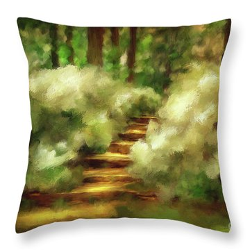 Azalea Stairs Throw Pillow by Lois Bryan