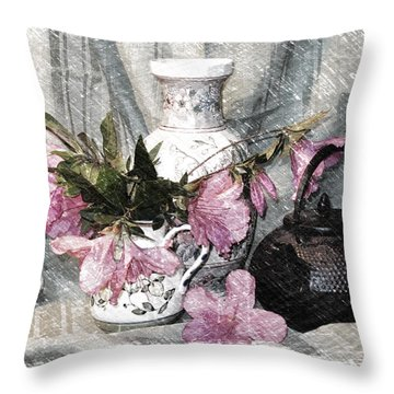 Azaleas And Teapot Throw Pillow