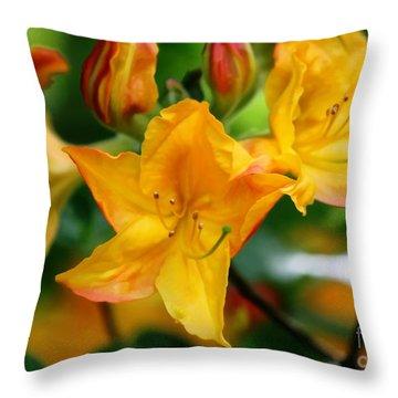 Azaleas Bright Throw Pillow by Erica Hanel