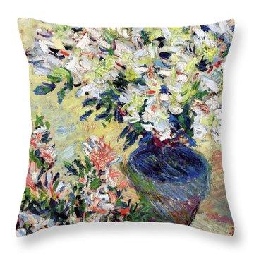 Azaleas Throw Pillow by Claude Monet