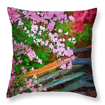 Throw Pillow featuring the photograph Azaleas Over The Fence by Donna Bentley