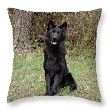 Aziza Sitting Throw Pillow by Sandy Keeton