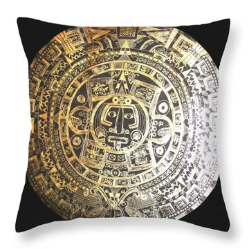 Throw Pillow featuring the drawing Aztec Calendar by Michelle Dallocchio