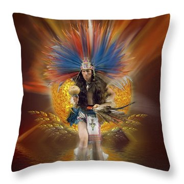 Aztec Native Dancer Throw Pillow by Gordon Engebretson