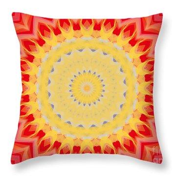 Throw Pillow featuring the digital art Aztec Sunburst by Roxy Riou