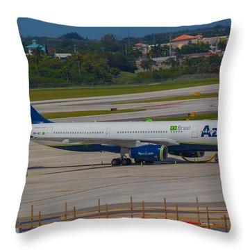 Azul Barzillian Airline Throw Pillow