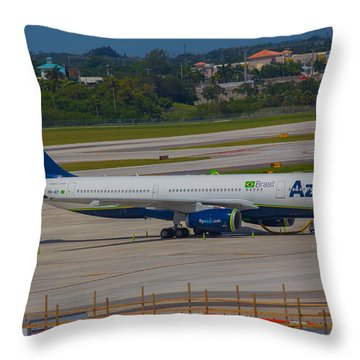 Azul Barzillian Airline Throw Pillow