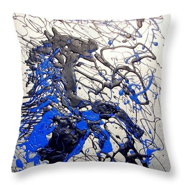 Throw Pillow featuring the painting Azul Diablo by J R Seymour