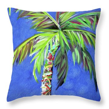 Azul Palm Throw Pillow