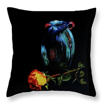 Azure Amphora Vase  Throw Pillow