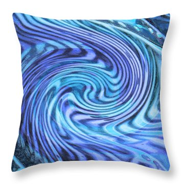 Throw Pillow featuring the digital art Azure Green And Blue Abstract by David Mckinney
