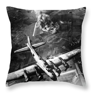 B-17 Bomber Over Germany  Throw Pillow by War Is Hell Store