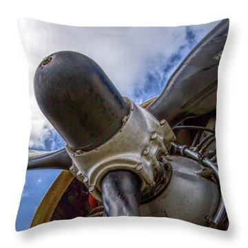 B-17 Engine Pano Throw Pillow