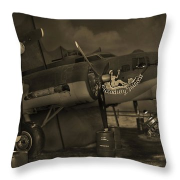 B - 17 Field Maintenance  Throw Pillow by Mike McGlothlen