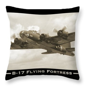 B-17 Flying Fortress Show Print Throw Pillow by Mike McGlothlen