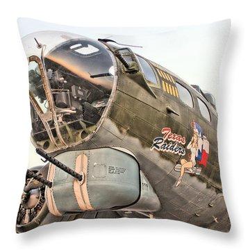 B-17 Texas Raiders Throw Pillow by Michael Daniels
