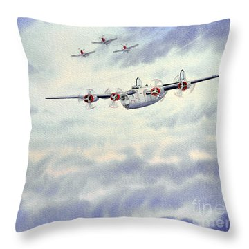 B-24 Liberator Aircraft Painting Throw Pillow by Bill Holkham