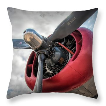 Throw Pillow featuring the photograph B-24j Liberator Engine II by Kristia Adams