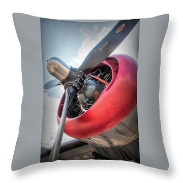 Throw Pillow featuring the photograph B-24j Liberator Engine by Kristia Adams