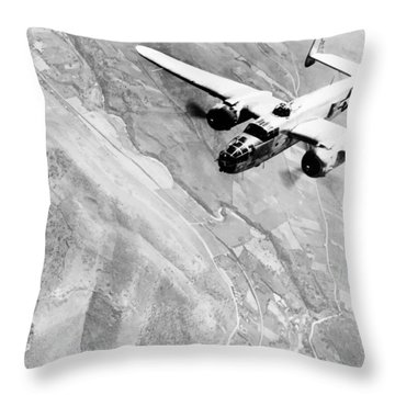 B-25 Bomber Over Germany Throw Pillow by War Is Hell Store