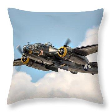 B-25 Georgie's Gal Throw Pillow by Bill Lindsay