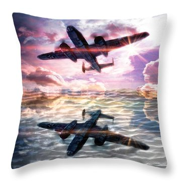 Throw Pillow featuring the digital art B-25b Usaaf by Aaron Berg