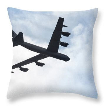 B-52 Flyover Throw Pillow by Lawrence Burry