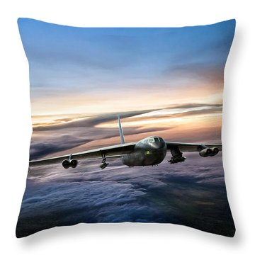 B-52 Inbound Throw Pillow by Peter Chilelli