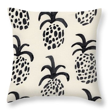B And W Pineapple Print Throw Pillow by Anne Seay
