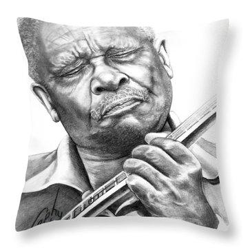 B B King Throw Pillow by Murphy Elliott