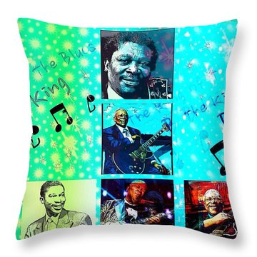 B B King Of The Blues  Throw Pillow