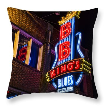 B B Kings On Beale Street Throw Pillow by Stephen Stookey