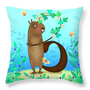 B Is For Beaver With A Blossoming Branch Throw Pillow