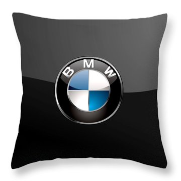 B M W  3 D Badge On Black Throw Pillow by Serge Averbukh