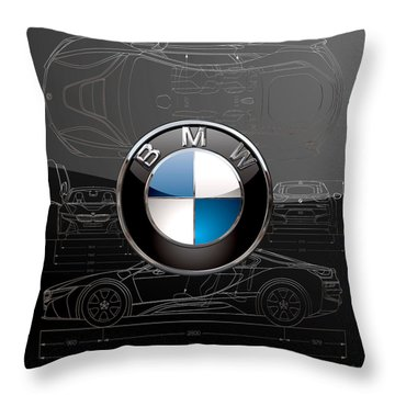 B M W  3 D  Badge Over B M W I8 Silver Blueprint On Black Special Edition Throw Pillow