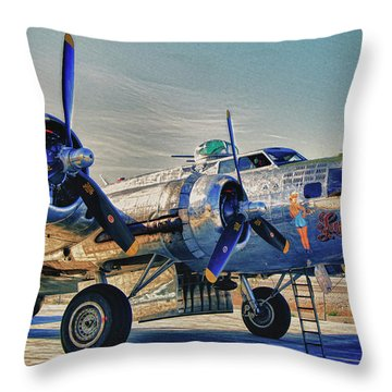 B17 Flying Fortress Sentimental Journey Throw Pillow