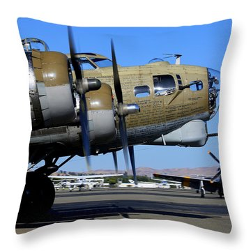 B17 Flying Fortress Taxis In Front Of P51 Mustang Betty Jean Throw Pillow