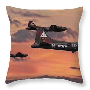 Throw Pillow featuring the digital art B17 - Sunset Home by Pat Speirs