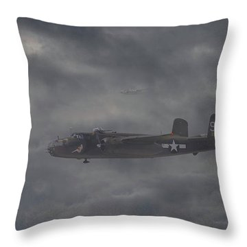 Throw Pillow featuring the digital art B25 - 12th Usaaf by Pat Speirs