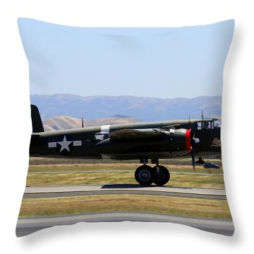 B25 Mitchell Rotating At Klvk Livermore Throw Pillow