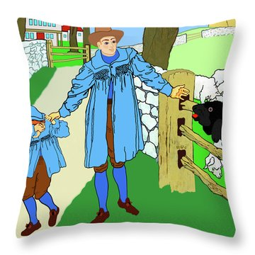 Throw Pillow featuring the painting Baa, Baa, Black Sheep Nursery Rhyme by Marian Cates