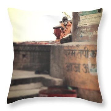 Baba At The Ghats Throw Pillow