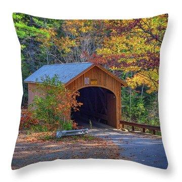 Throw Pillow featuring the photograph Babb's Bridge In Autumn by Rick Berk