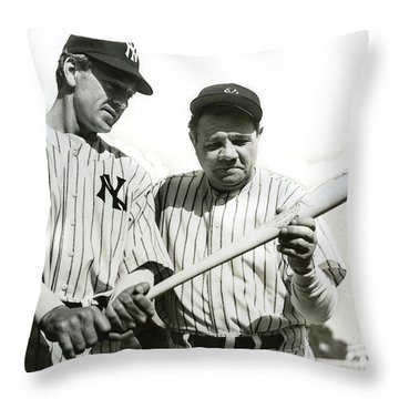 Babe Ruth And Lou Gehrig Throw Pillow