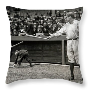 Babe Ruth At Bat Throw Pillow