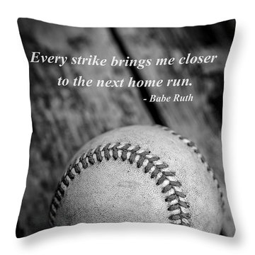 Babe Ruth Baseball Quote Throw Pillow by Edward Fielding