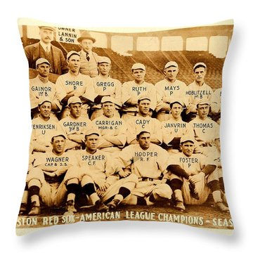 Throw Pillow featuring the photograph Babe Ruth Boston Red Sox American League Champions Season 1915 by Peter Gumaer Ogden