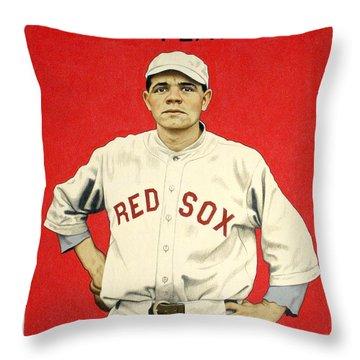 Babe Ruth Cracker Jack Card Throw Pillow by Jon Neidert