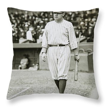 Babe Ruth Going To Bat Throw Pillow